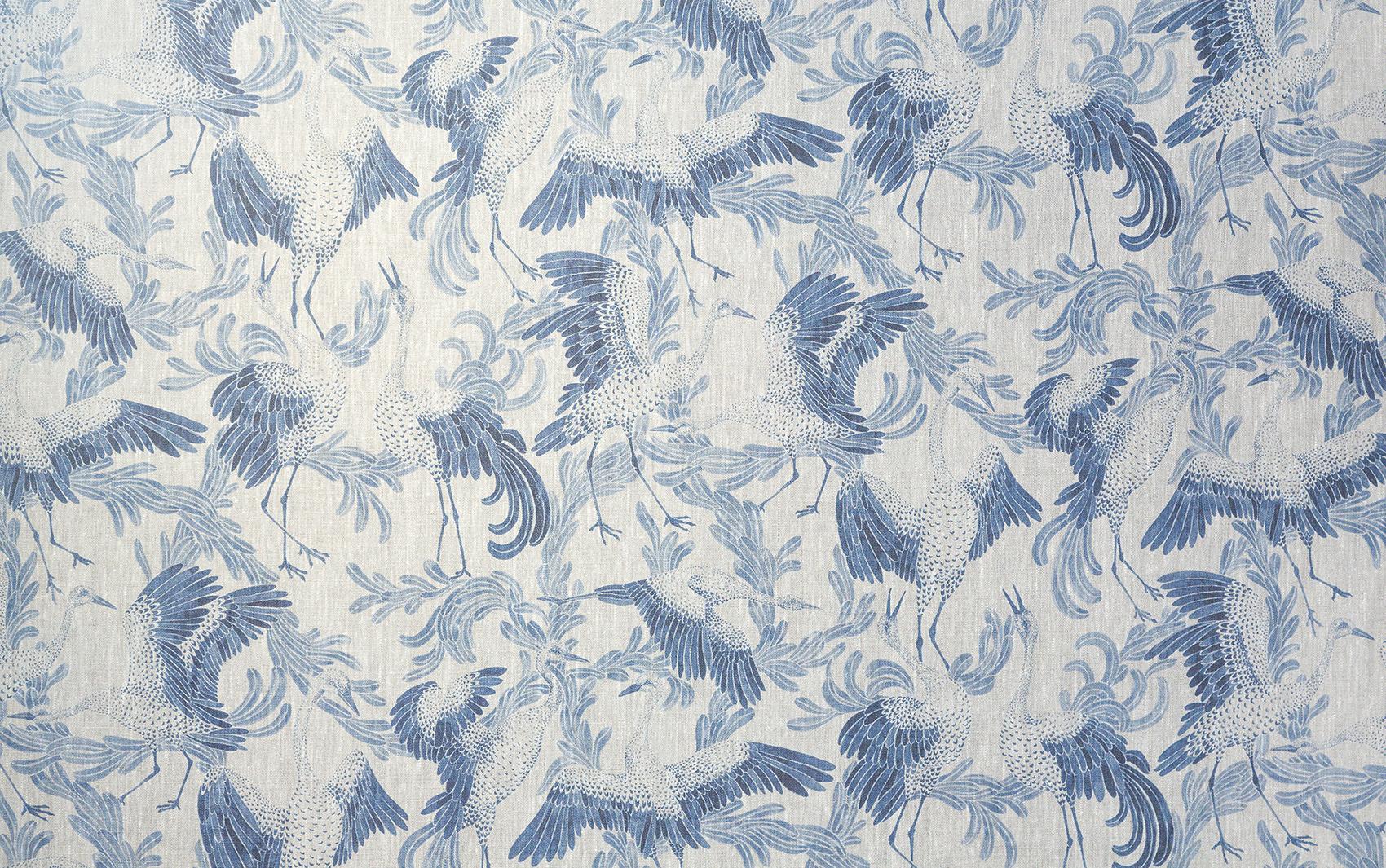 Mönstret Dancing Crane med dansande tranor i blått och vitt